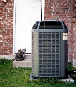 outdoor unit of an air conditioner next to a brick house, with two cats in the background